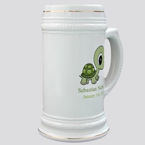 CUSTOM Green Baby Turtle w/Name and Date Stein