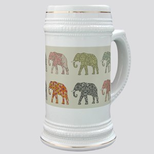 Elephant Colorful Repeating Pattern Decorato Stein