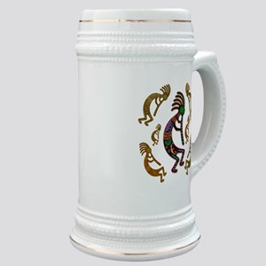 Kokopelli Rainbow Colors on Tribal Pattern Stein