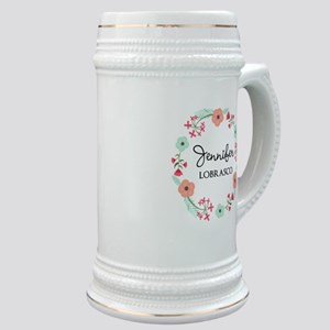 Personalized Floral Wreath Stein