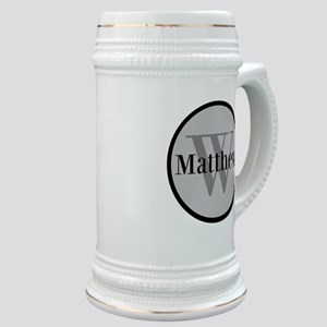 Gray Name and Initial Monogram Stein