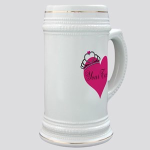 Personalizable Pink Heart with Crown Stein