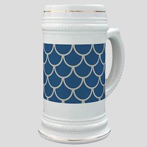 Blue & Beige Fish Scales Pattern Stein