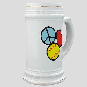 Peace, Love, Softball Stein