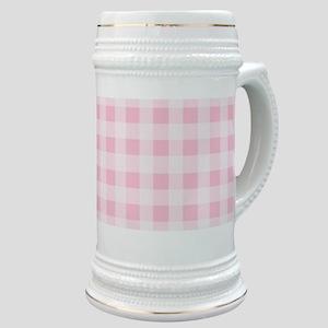 Pink Gingham Checkered Pattern Stein