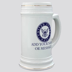 PERSONALIZED US Navy Blue White Stein