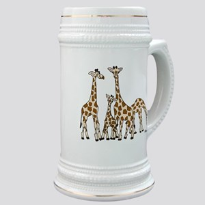 Giraffe Family Portrait in Browns and Beige Stein
