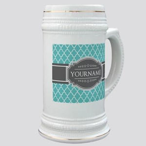 Turquoise and Gray Moroccan Quatrefoil Monog Stein