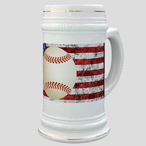 Baseball Ball On American Flag Stein