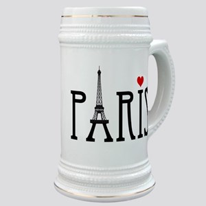 Love Paris with Eiffel tower and red heart Stein