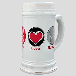 Peace Love Softball red Stein