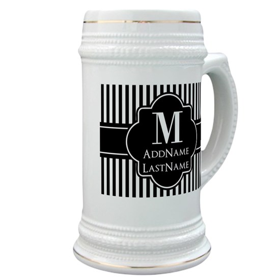 Stripes Pattern with Monogram - Black and White