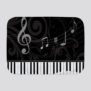 Whimsical Piano and musical notes Baby Blanket