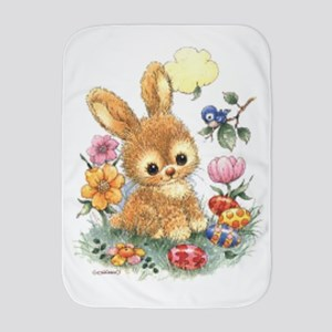 Cute Easter Bunny With Flowers And Baby Blanket