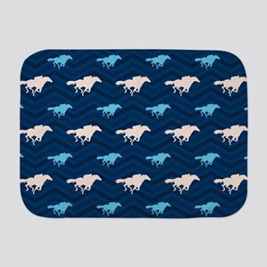 Blue and Tan Chevron Horse Racing Baby Blanket