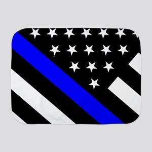 Police Flag: Thin Blue Line Baby Blanket