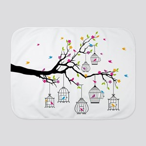 tree branch with birds and birdcages Baby Blanket