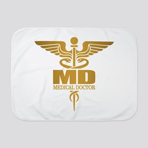 Gold Caduceus MD Baby Blanket