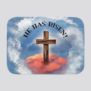 He Has Risen Rugged Cross With Clouds Baby Blanket