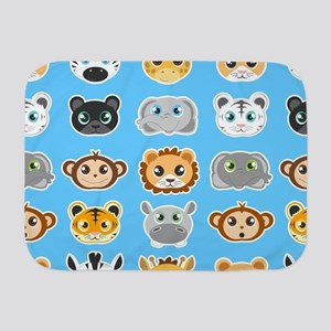 Cute Jungle Animals Pattern Blue Baby Blanket