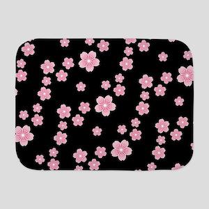 Cherry Blossoms Black Pattern Baby Blanket