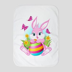 Pink Easter Bunny Baby Blanket