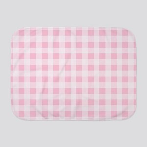 Pink Gingham Checkered Pattern Baby Blanket