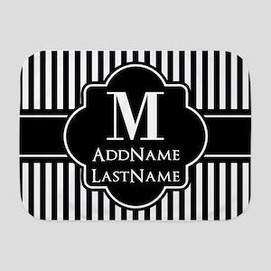 Stripes Pattern with Monogram - Black Baby Blanket
