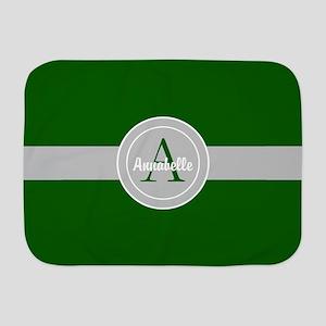 Dark Green Gray Monogram Personalized Baby Blanket