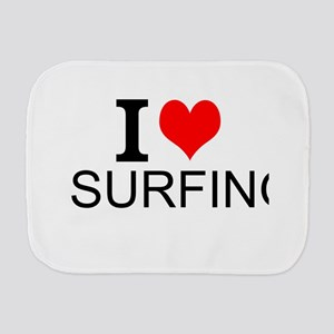 I Love Surfing Burp Cloth