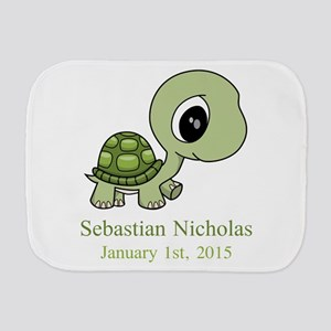 CUSTOM Green Baby Turtle w/Name and Date Burp Clot
