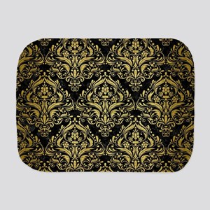 DAMASK1 BLACK MARBLE & GOLD BRUSHED MET Burp Cloth