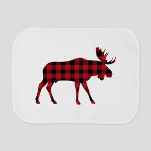 Plaid Moose Animal Silhouette Burp Cloth