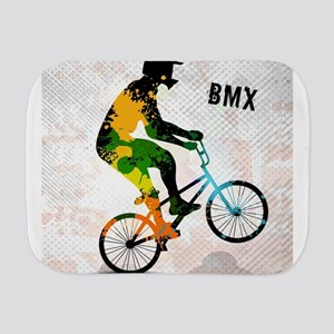 BMX Rider with Abstract Paint Splotches Burp Cloth