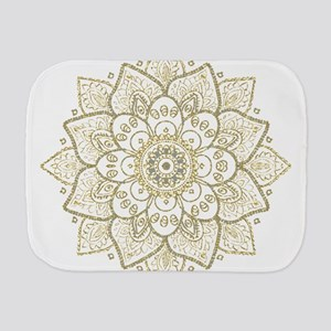 Gold Glitter Floral Mandala Design Burp Cloth