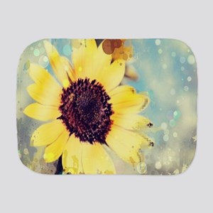 romantic summer watercolor sunflower Burp Cloth