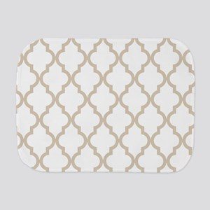 Brown, Beige: Quatrefoil Moroccan Patte Burp Cloth
