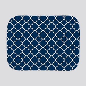 Blue, Navy: Quatrefoil Clover Pattern Burp Cloth