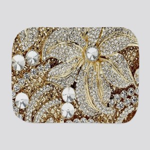 floral champagne gold rhinestone Burp Cloth