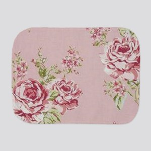 elegant country pink roses vintage flor Burp Cloth