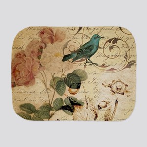 teal bird vintage roses swirls botanica Burp Cloth