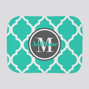 Teal Gray Quatrefoil Pattern Monogram Burp Cloth