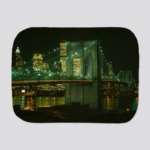 Brooklyn Bridge at Night Photograph Burp Cloth