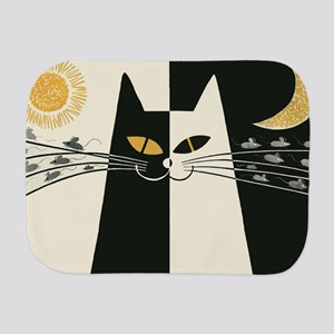 Black and White Cat; Vintage Poster Burp Cloth
