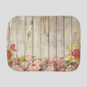 Vintage Rustic Romantic Roses Wood Burp Cloth