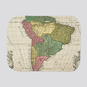 Vintage Map of South America (1691) Burp Cloth
