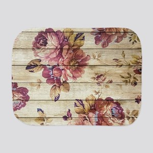 Vintage Romantic Floral Wood Pattern Burp Cloth
