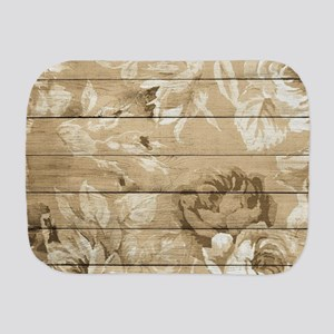 Rustic Vintage Country Floral Wood Roma Burp Cloth