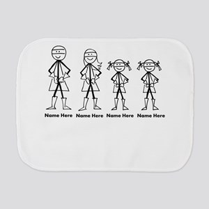 Personalized Super Family 2 Girls Burp Cloth