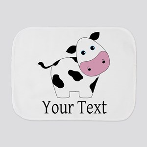 Personalizable Black and White Cow Burp Cloth